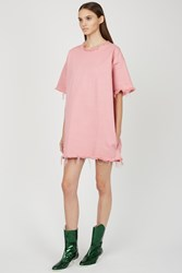 Marques Almeida Denim Oversized T Shirt Pink