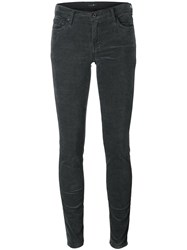 7 For All Mankind Velvet Effect Cropped Skinny Trousers Grey
