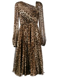 Dolce And Gabbana Leopard Print Dress Brown