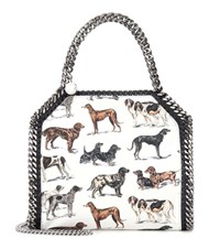 Stella Mccartney Falabella Mini Printed Cotton Shoulder Bag White