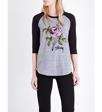 Stussy Rose Print Raglan Jersey Top Grey Heather