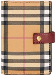 Burberry Vintage Check And Leather Folding Wallet Brown