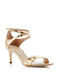 Via Spiga Ankle Strap Sandals Leesa Mid Heel Gold