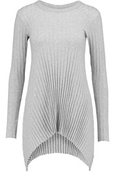 Enza Costa Asymmetric Ribbed Cotton And Cashmere Blend Jersey Top Gray