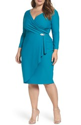 Alex Evenings Plus Size Women's Embellished Faux Wrap Sheath Dress