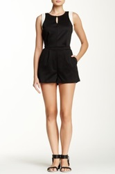S.H.E. Faux Leather Trim Keyhole Romper Black