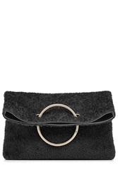 Victoria Beckham Spiral Clutch With Leather And Shearling Black