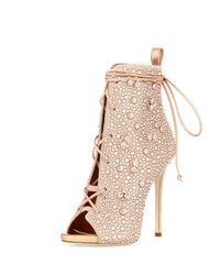 Giuseppe Zanotti For Jennifer Lopez Lynda Crystal Open Toe 120Mm Bootie Beige