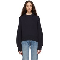 Helmut Lang Navy Wool And Cotton Sweater