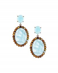 Bavna Aquamarine And Multicolored Tourmaline Drop Earrings