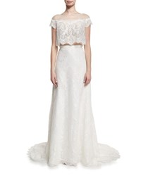Lm Collection Two Piece Hand Beaded Lace Gown White
