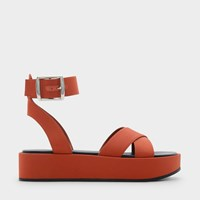 Charles And Keith Ankle Strap Flatforms Orange
