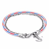 Anchor And Crew Project Rwb Red White Blue Filey Silver Rope Bracelet White Red Blue