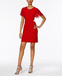 Msk Petite Ruched A Line Dress Red