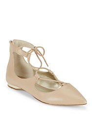 Saks Fifth Avenue Lace Up Estyn Flats Almost Nude