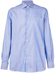 Isaia Striped Tailored Shirt Blue