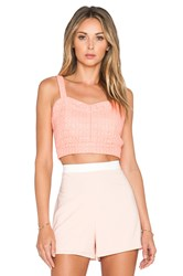 J.O.A. Jacquard Bustier Crop Top Coral