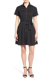 Vince Camuto Belted Short Sleeve Shirtdress Petite Gray