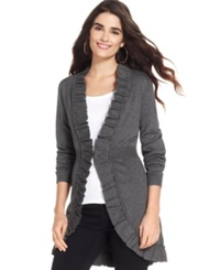 Style And Co. Long Sleeve Ruffle Trim Cardigan Charcoal Heather