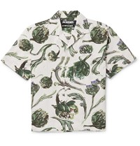 Jacquemus La Chemise Jean Camp Collar Printed Cotton And Linen Blend Shirt Green