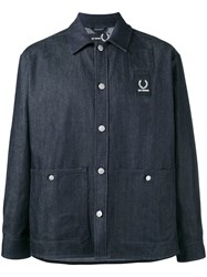 Fred Perry Raf Simons X Denim Blue Shirt Jacket Men Cotton Polyester 38