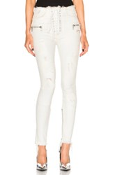 Unravel Lace Front Skinny Pants In White