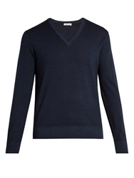 Tomas Maier V Neck Wool Sweater Blue