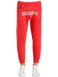 Dsquared Printed Cotton Jersey Sweatpants Coral