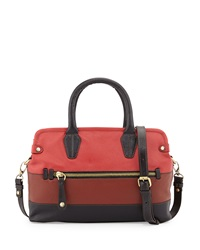 Oryany Lyla Colorblock Saffiano Leather Frame Satchel Brick Multi