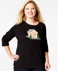 Karen Scott Plus Size Holiday Gingerbread Graphic Top Only At Macy's