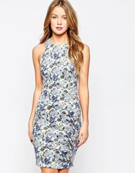 Closet Racer Front Bodycon Midi Dress In Floral Print Multi