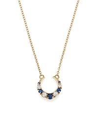 Iconery X Stone Fox Bride 14K Yellow Gold Crescent Diamond And Sapphire Necklace 16