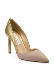 Diane Von Furstenberg Lille Two Tone Suede And Metallic Leather D'orsay Pumps Black Gold Powder Gold