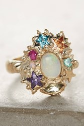 Anthropologie Opal Cluster Ring Gold