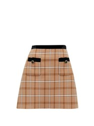 Miu Miu High Rise Velvet And Checked Twill Mini Skirt Brown Multi
