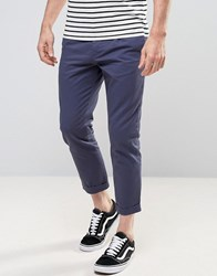 New Look Cropped Tapered Trousers In Navy Navy