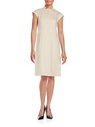 Lafayette 148 New York Isabella Stretch Cotton Mandarin Collar Dress Khaki