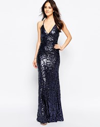 Forever Unique Pamona Maxi Dress In Textured Sequins Navy