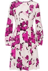 Oscar De La Renta Pleated Floral Print Silk Dress Magenta