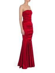 Dolce And Gabbana Strapless Stretch Satin Gown Dark Red