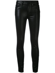 Paige 'Hoxton' Coated Cropped Jeans Women Cotton Polyester Spandex Elastane Rayon 26 Black