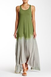 American Twist Tie Dye Hi Lo Maxi Dress Green