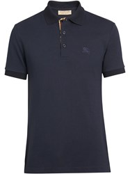 Burberry Contrast Collar Cotton Polo Shirt Blue
