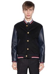 Thom Browne Cashmere Felt And Leather Bomber Jacket