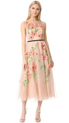 Lela Rose Floral Embroidered Dress Blush Multi