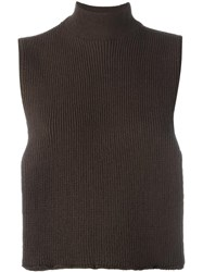 Each X Other Turtleneck Ribbed Open Top Brown