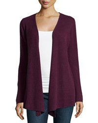 Minnie Rose Cashmere Open Front Duster Cardigan Plum