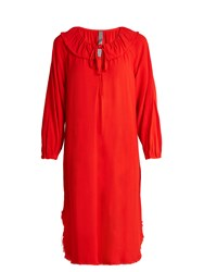 Raquel Allegra Frayed Hem Long Sleeved Crepe Dress Red