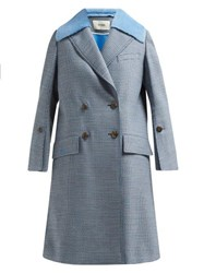 Fendi Checked Double Breasted Wool Blend Coat Blue Multi