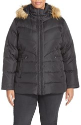 Plus Size Women's Larry Levine Faux Fur Trim Hooded Down And Feather Fill Jacket Black